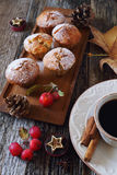 Apple muffins, cup of coffee and paradise apples Royalty Free Stock Image