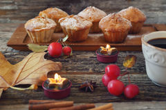 Apple muffins, cup of coffee and paradise apples Royalty Free Stock Photos