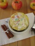 Apple mug cake with sugar icing from microwave Royalty Free Stock Photos