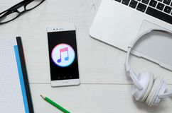 Apple Music is a service that offers legal streaming music. WROCLAW, POLAND - MARCH 29, 2018: Apple Music is a service that offers legal streaming music stock images