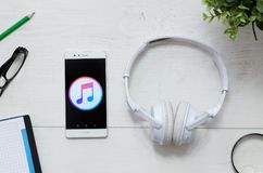 Apple Music is a service that offers legal streaming music. WROCLAW, POLAND - MARCH 29, 2018: Apple Music is a service that offers legal streaming music stock image
