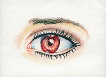 Apple of My Eye. Beautiful and soft rendered, bright eye and soft colored pencil illustration of the expression or Idiom of Apple of My Eye Stock Photo