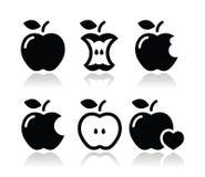 Apple, núcleo da maçã, ícones mordidos, meios ilustração royalty free