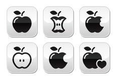 Apple, núcleo da maçã, vectot mordido, meio abotoa-se ilustração royalty free