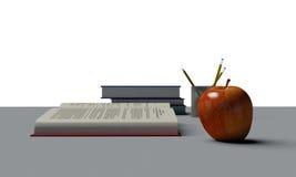 Apple na biurku Zdjęcia Royalty Free