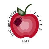Apple naturalny Wektorowy jabłczany logo Fotografia Stock