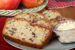 Apple Nut Bread. Slices of apple nut sweet bread on a plate Royalty Free Stock Photos