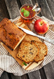 Apple nut cake and cup of tea Royalty Free Stock Photos