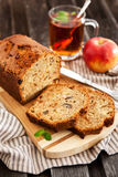 Apple nut cake on wooden board Royalty Free Stock Images