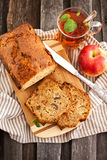 Apple nut cakeand cup of tea Stock Photo