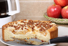 Apple Nut Coffee Cake. Sliced apple nut coffee cake on a platter Royalty Free Stock Photo