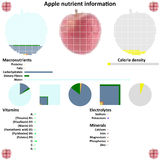 Apple nutrient information. Apple mosaic and nutrient information graphics Royalty Free Stock Image