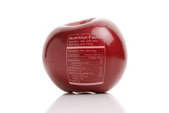 Apple with nutriton facts Royalty Free Stock Photography