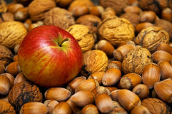 Apple and nuts Royalty Free Stock Photo