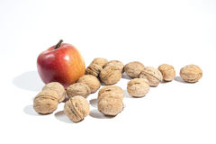 Apple and nuts Royalty Free Stock Images