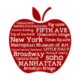 Apple NYC. Apple-shaped tag cloud celebrating New York city with correlated words
