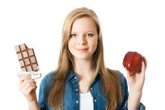 Apple o chocolate Fotografía de archivo
