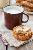 Apple Oat Cookies with a Mug of Milk Stock Photo