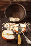 Apple and oatmeal Stock Image