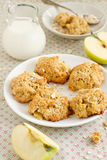 Apple oatmeal cookies. With milk Royalty Free Stock Photo