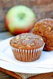 Apple Oatmeal Muffins. Homemade apple oatmeal muffins on a plate stock photos