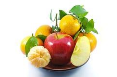 Apple och apelsin Arkivbild