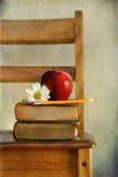 Apple och böcker på stol för gammal skola arkivfoto