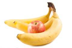 Apple och banan Fotografering för Bildbyråer