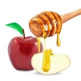 Apple och honung Arkivfoto