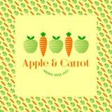 Apple och morotfruktsaft Logo av geometriska former Äpple- och morotmodell Arkivfoton