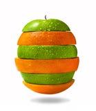 Apple och orange skivor Arkivbild