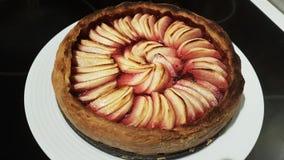 Apple och rasberry syrligt i shortcrustbakelse royaltyfria bilder