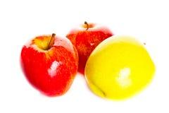 Apple odizolowywał na białych tło owoc zdrowym jarskim jedzeniu Zdjęcia Royalty Free