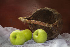 Apple with old basket. Royalty Free Stock Photography