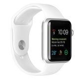 Apple olha o caso de alumínio de prata do esporte com a faixa branca do esporte Imagens de Stock Royalty Free
