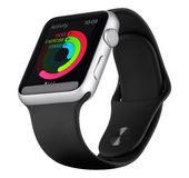 Apple olha o caso de alumínio de prata do esporte com a faixa preta do esporte Fotos de Stock