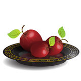 Apple On Black Dish Royalty Free Stock Photo