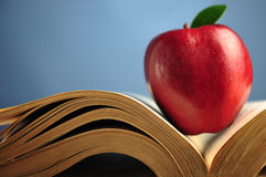 Apple On Book Stock Image