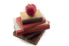 Apple On Old Books Stock Images