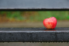 Apple op bank Stock Foto's