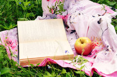 Apple and open book in green grass Stock Images