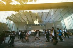 Apple-opslag in Tokyo stock foto's