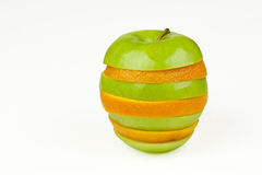 Apple Orange. An apple and orange joined together with alternating slices Stock Photo