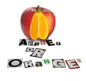 Apple Or Orange. Fruit With A Difference � Apple With An Orange Inside Stock Image