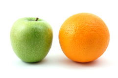 Apple and orange. Isolated on a white background Royalty Free Stock Photo