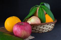 Apple and orange Royalty Free Stock Images