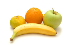 Apple, orange, banane et patte Image libre de droits