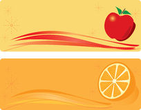 Apple and orange banners royalty free stock images