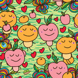 Apple orange crazy seamless. This illustration is design abstract crazy happy apple and orange soulmate in green color background and seamless pattern Royalty Free Stock Image