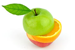 Apple and orange cut in stack Stock Photos